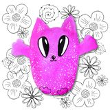 Cartoon characters in kawaii style with the image of a cat on an abstract background. Design wallpaper, prints, covers, coloring, vector illustration