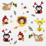 Cartoon characters are a ladybug, cockerel, lion cub, giraffe, squirrel for joyful children. Colorful flat design for greeting card or sticker royalty free illustration