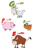 Cartoon characters with letter. Different cartoon characters from a farm with letter stock illustration