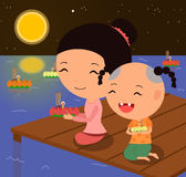Cartoon characters Loy krathong festival 1 Stock Image