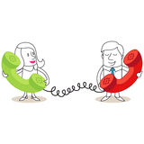 Cartoon characters: Man and woman phone call Royalty Free Stock Images