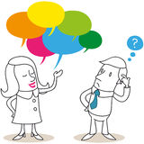 Cartoon characters: Man and woman talking Stock Photography