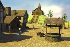 Cartoon characters in medieval village 14 Stock Photo