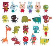 Cartoon Characters Over White Royalty Free Stock Image
