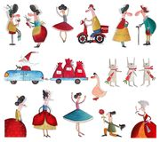 Cartoon characters over white. Artistic work. Watercolors on paper Royalty Free Stock Photos