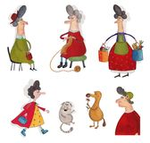 Cartoon characters over white. Artistic work. Watercolors on paper Royalty Free Stock Photography