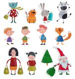 Cartoon characters over white Stock Photography