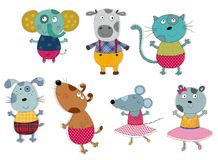 Cartoon characters over white. Colorful graphic illustration for children Royalty Free Stock Photo