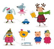 Cartoon characters over white. Colorful graphic illustration for children Stock Photo