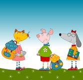 Cartoon characters. Pig, dog and cat. Colorful graphic illustration for children Royalty Free Stock Image