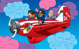 Cartoon characters in a plane. Original artwork vector illustration