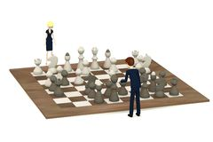 Cartoon Characters Playing Chess Stock Photos