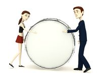 Cartoon characters playing on drum Royalty Free Stock Photography
