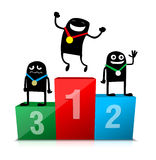 Cartoon characters on podium Royalty Free Stock Images