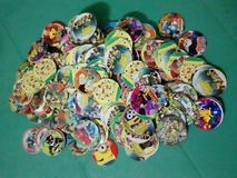 Pogs toys kids collection cartoon character. Cartoon characters pogs collections Royalty Free Stock Images