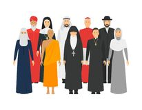 Cartoon Characters Religion People Different Types Crowd. Vector stock image