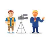 Cartoon Characters Reporter with Cameraman. Vector Stock Photos