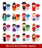Cartoon characters saying hello in most popular languages. stock illustration