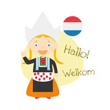 Cartoon characters saying hello and welcome in Dutch Royalty Free Stock Image