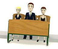 Cartoon characters on school chair Stock Images
