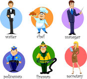 Cartoon characters,vector. Cartoon characters secretary, manager, chef, policeman, fireman, waiter, vector illustration picture Stock Image