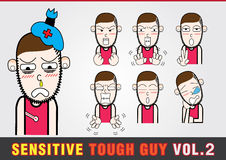 Cartoon characters. Sensitive Tough Guy. Stock Photography