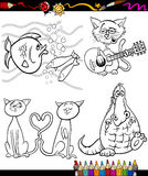 Cartoon characters set for coloring book. Coloring Book or Page Cartoon Illustration Set of Black and White Animals and Pets or Fantasy Characters for Children Stock Photo