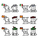 Cartoon Characters Set 2 - Countries and Tradition Stock Image