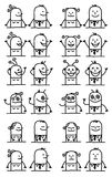 Cartoon Characters Set - Happy and Funny Faces Royalty Free Stock Image