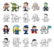 Cartoon characters set. A set of cartoon people or children playing dress up. Color and black and white outline versions Stock Photos