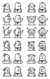 Cartoon Characters Set - Unhappy and Sad Faces Stock Image