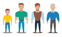 Cartoon characters showing age progress. People Generations. All age group of european man. Cartoon characters showing age progress. All age group of european Royalty Free Stock Images