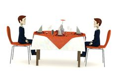 Cartoon characters sits on restaurant Stock Image