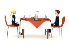 Cartoon characters sits on restaurant Royalty Free Stock Photos