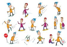 Cartoon characters, skier and snowboarder. Winter sports, snowboarding and skiing. Vector Illustration, isolated on Royalty Free Stock Photography