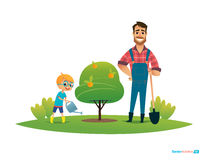 Cartoon characters, smiling father and son in rubber boots  with gardening tools plant apple tree in garden. Parental Stock Images