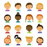 Cartoon characters. Style flat. Avatars. Children.Girls and boys of different appearance and nationality.Cartoon characters. Style flat Stock Image