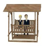 Cartoon characters in suits on swing Royalty Free Stock Image