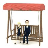 Cartoon characters (in suits) on swing. 3d render of cartoon characters (in suits) on swing Royalty Free Stock Image