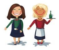 Cartoon characters - two cute girls waitress Stock Photos