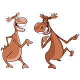 Cartoon characters, two moose talk. Ing animatedly Royalty Free Stock Image