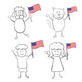 Cartoon characters with US flag Royalty Free Stock Photo