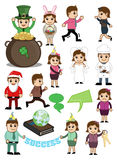 Cartoon Characters for Various Concepts. Cartoon People with Many Holiday and Business Concepts Vector Illustration Stock Photo