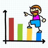 Cartoon charactor and business graph. Stock Photography