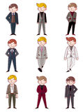 Cartoon charming young man icon Stock Photos