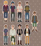 Cartoon charming young man stickers Stock Photo