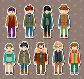 Cartoon charming young man stickers Royalty Free Stock Photography