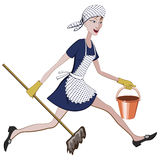Cartoon charwoman running with a bucket and mop in hand Royalty Free Stock Photos