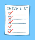 Cartoon checklist with red check marks Royalty Free Stock Photography