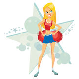 Cartoon cheer leader Royalty Free Stock Photography